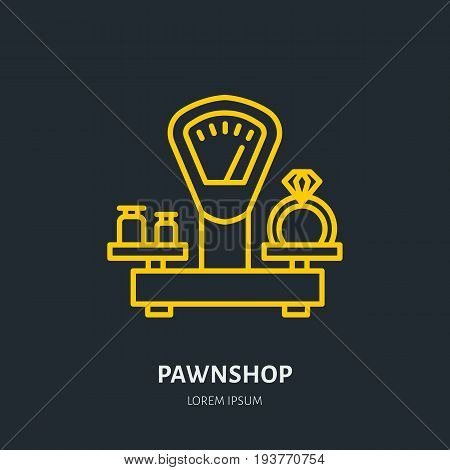Ring on scales in pawnshop illustration. Jewelry flat line icon, pawn shop logo. Jewels buying sign.