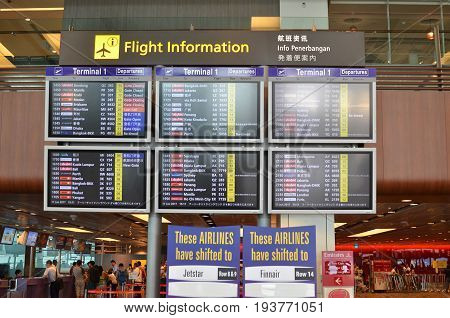 Departure Board In Changi Airport
