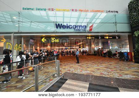 Terminal 1 In Changi Airport, Singapore