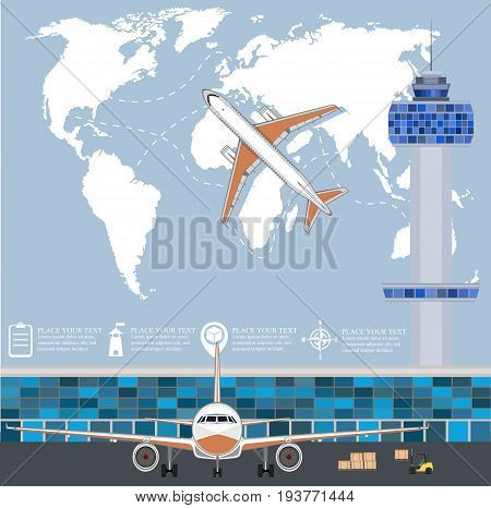 Aviation poster with jet airplane in airport. Commercial air shipment fast freight delivery global cargo transportation. Worldwide tourist and business flights low cost airline vector illustration.