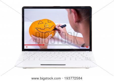 Video Blog Concept - Man Showing How To Make Jack-o-lantern For Halloween