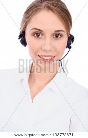 Portrait of smiling cheerful young support phone operator in headset, isolated over white background.