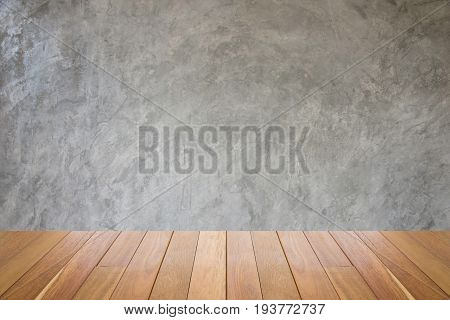 old grungy texture grey concrete wall.dirty vintage cement wall.Grunge Background Wallpaper Wood Floor.Interior background of room with concrete wall wooden floor