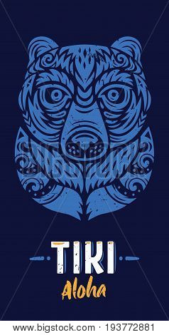 Bear Tiki Totem T-Shirt. Polynesian tattoo. Vector illustration