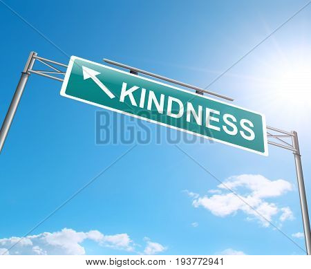 3d Illustration depicting a sign with a kindness concept.