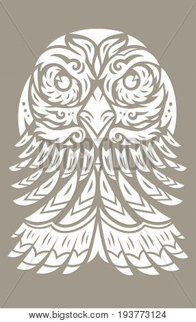 EagleTotem T-Shirt print. Polynesian tattoo. Vector illustration