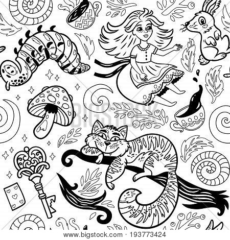 Alice in wonderland fairytale story vector illustration. Seamless pattern with a girl, Cheshire cat, rabbit, caterpillar and flowers. Coloring page