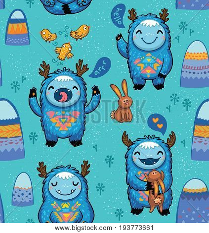 Kids seamless pattern with funny yeti. Cute cartoon monsters background is suitable for cards, wallpapers, backgrounds of any kind, fabric and textile printing.