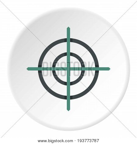 Crosshair icon in flat circle isolated vector illustration for web