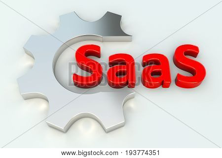 SaaS gear wheal white background 3d illustration