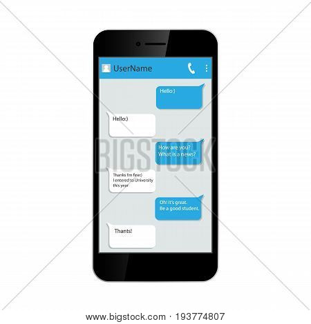 Social network concept. Messenger window on smartphone. Chating and messaging. isolated on white background. Vector illustration. Eps 10.