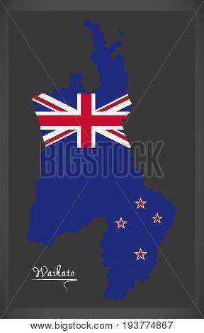 Waikato New Zealand Map With National Flag Illustration