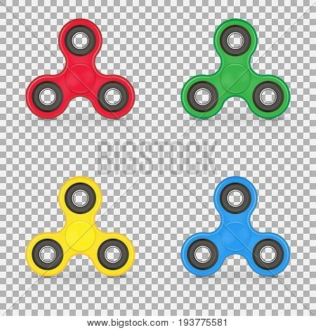 Set of realistic anxiety relief toy. Fidget finger spinner stress. Collection hand spinner isolated on white background. Vector illustration. Eps 10.