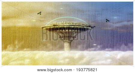 3d illustration of an old futuristic city postcard under a glass dome