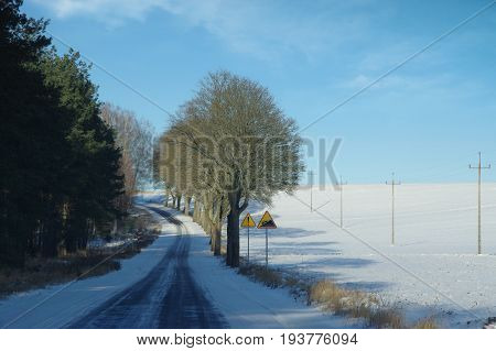 Snow and rime road up in winter