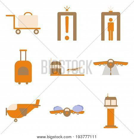 Set of icons in flat design for airport on a white background