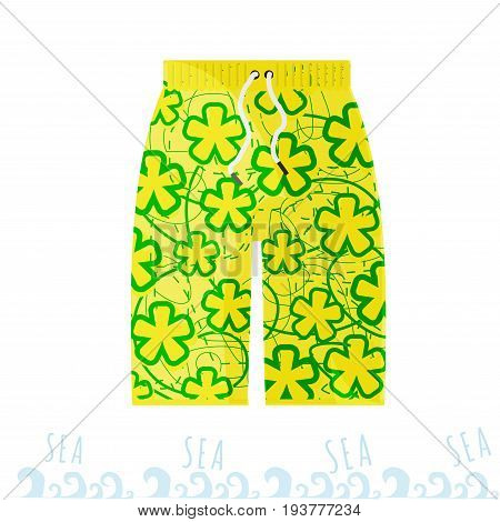 Beach bright men shorts in the style of the Miami with flowers. Summertime
