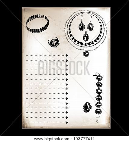 black background, vintage beige-colored card with stylized jewelry