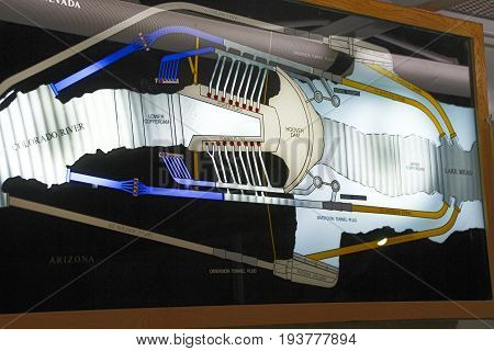 Las Vegas, USA - October 30, 2014: Hydroelectric power plant named Hoover Dam Nevada USA