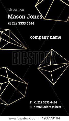 Black and gold business card template. US standard size 2x3.5 in. With bleed size 0.125 in. Vertical format. Vector. Minimal and official style. Geometric design with crystal on background.