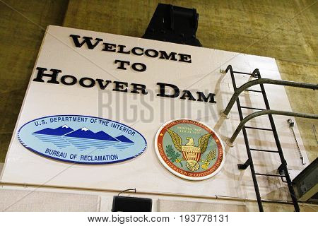 NEVADA,USA - OCT 30, 2014: Wall Sign At Welcome to Hoover Dam.