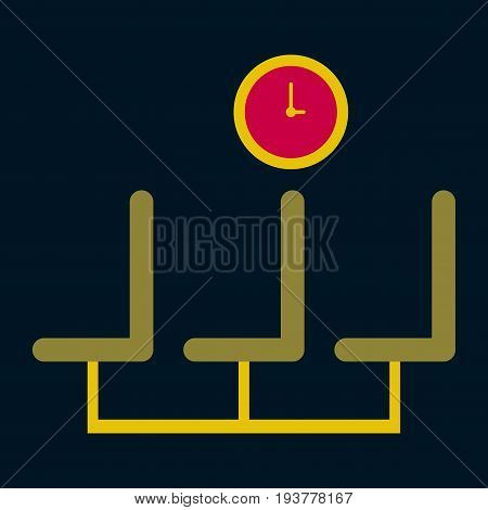 Icon in flat design for airport waiting hall
