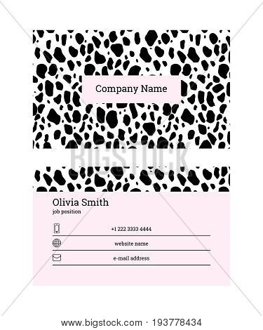 Double-sided business card template. Information on the black lines on pink background. Trust the professionals slogan. US standard size 3.5x2 in. With bleed size 0.125 in. Vector. Animal print.