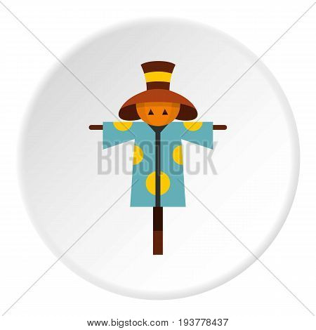 Scarecrow icon in flat circle isolated vector illustration for web