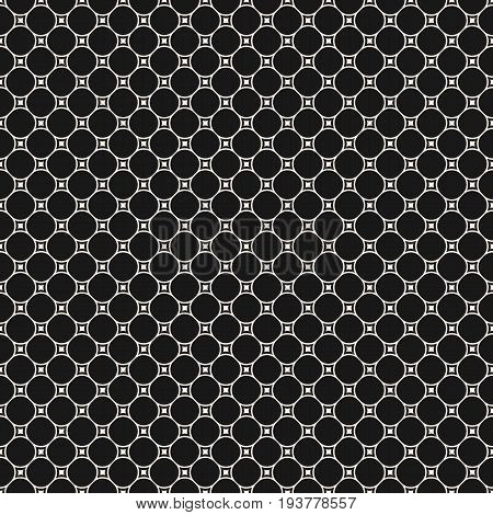 Vector geometric texture. Monochrome seamless pattern with circular lattice, mesh, smooth shapes, thin lines. Subtle dark abstract background. Repeat design element for prints, decor, digital, web. Design pattern, textile pattern, covers pattern.