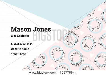 Business card template in the style of Memphis. A perfect combination of pink and blue pastel colors. Pattern of geometric shapes, circles and triangles. UK standard size 85x55 mm with bleed size 3 mm