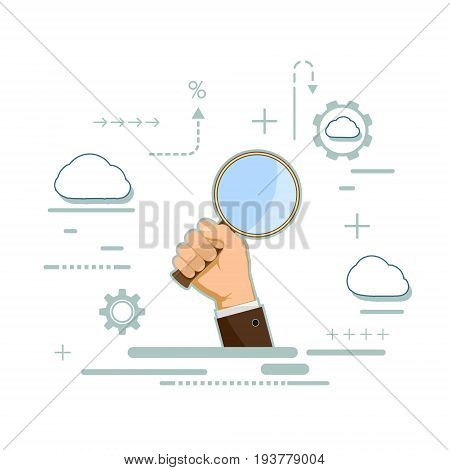 Man is holding a magnifying glass in his hand. Website of the SEO optimization. Search for information. Isolated on white background. Flat line infographics. Stock vector illustration.