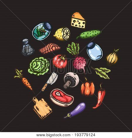 Set of hand drawn cartoon images of food and kitchen stuff. Vector isolated illustrations.