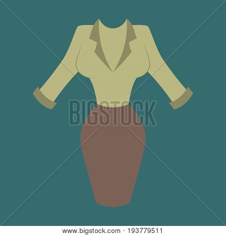 Icon in flat design fashion clothes Office dress