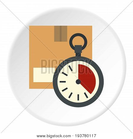 Cardboard box with stopwatch icon in flat circle isolated vector illustration for web