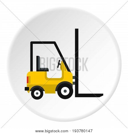 Yellow stacker loader icon in flat circle isolated vector illustration for web