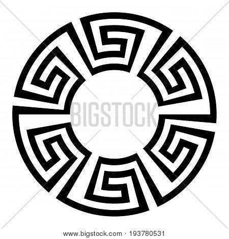 Round ornament meander on white background. Vector illustration.