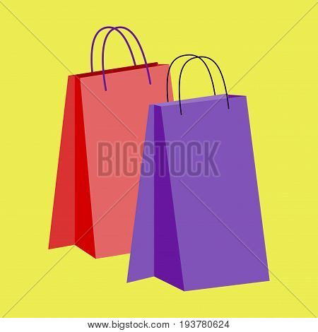 Icon in flat design fashion paper bags