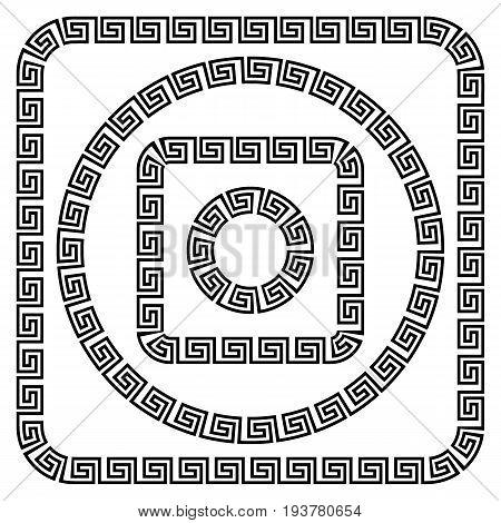 Round ornament meander on white background. Vector illustration.