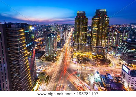Seoul, Korea - January 31, 2016: Seoul City With Skyscrapers And Intersection In Downtown Seoul, Sou
