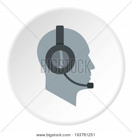 Client support service operator in headset icon in flat circle isolated vector illustration for web