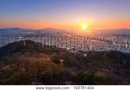 Seoul City And Skyline With Skyscrapers In Sunset, Han River In Aerial View Of Yongma Mountain Or Yo