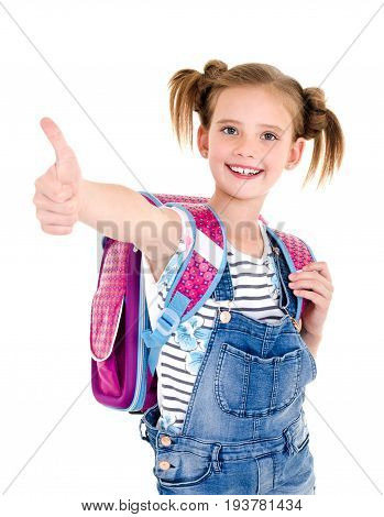 Portrait of smiling happy school girl child with school bag and finger up isolated on a white background education concept