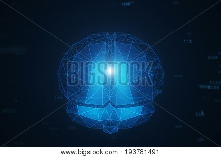 Digital Artificial Intelligence Of The Brain From Polygons In A Cloud Of Binary Data 3D Illustration