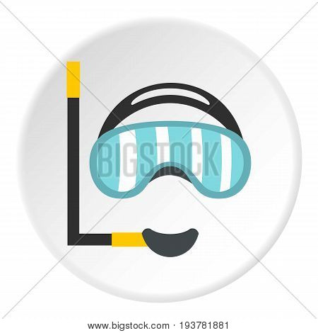 Diving mask icon in flat circle isolated vector illustration for web