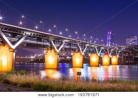 Cheongdam Bridge Or Cheongdamdaegyo Is Han River Bridge At Night In Seoul, South Korea..