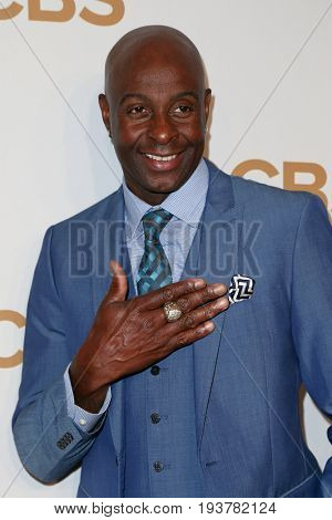 Former San Francisco wide receiver Jerry Rice attends the 2015 CBS Upfront at The Tent at Lincoln Center on May 13, 2015 in New York City.