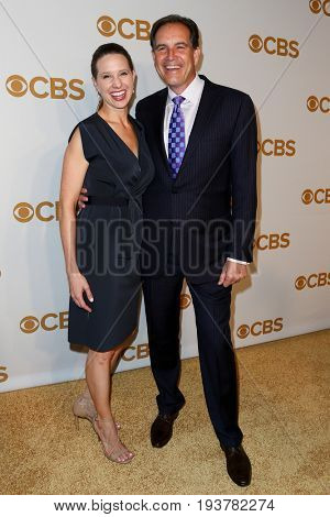 Sportscaster Jim Nantz (R) and wife Courtney Richards attend the 2015 CBS Upfront at The Tent at Lincoln Center on May 13, 2015 in New York City.