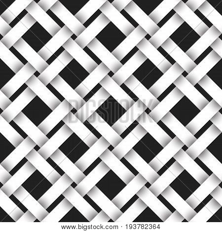 Abstract repeatable pattern background of white checkered strips. Swatch of intertwined straight bands. Volumetric seamless pattern in modern style.