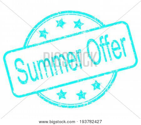 light blue summer offer rubber stamp - illustration
