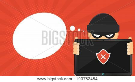 A cartoon cybercriminal holds a broken tablet in his hands. The hacker cracked the access code. A red shield on the screen. Empty cloud for text. Cartoon style. Vector illustration